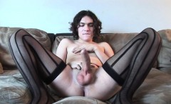 Casting transsexual jerking off on the couch