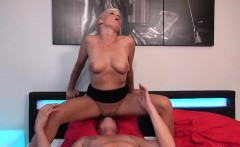 Short haired blonde mature fucks her young lover