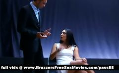 Young brunette girl gets interrogated