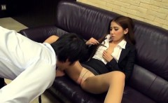 Shy playgirl enchants her older colleague in the office