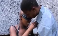 Kinky african slaves in bdsm suit fingered