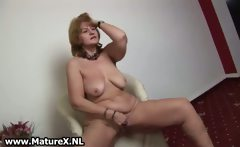 Hot old housewife stripping and playing
