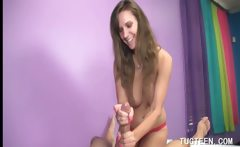 Awsome teen girl loves to rub horny shaft