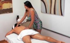 gal doing massage gives her client a wet bonus
