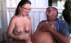 Nerdy Mature Tugging Husband Outdoor