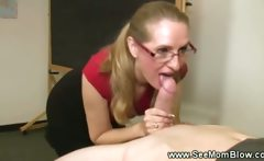 Horny teacher sucking student cock after school