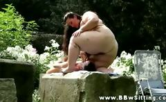 BBW drowns his face in her plmup pussy in the park