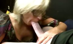 Blonde MILF with glasses loves gobbling on a young long