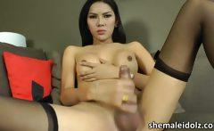 Slim and sexy Asian shemale Paula B masturbating