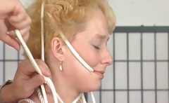 MILF blonde gets tits tied in this
