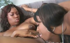 Two chubby black big ass whores fucking with a strapon
