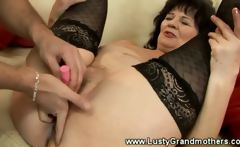 Mature amateur granny manually stimulated with toys
