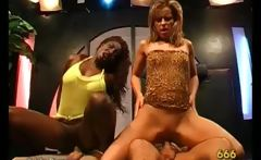 Dirty ebony and blonde sluts gets jizzed