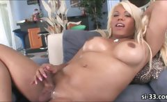 Large tits tranny Annalise explodes cum