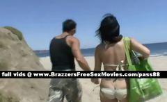 Gorgeous brunette girl on the beach