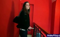 Girl shows tits in sexmuseum for money
