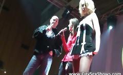 Sexy blond having fun on stage
