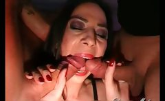 Nasty jizzed slut goes crazy sucking