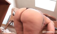 Mature horny blonde rubbing her wet snatch on the floor