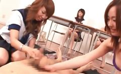Asian sex class with school babes learning to suck dick