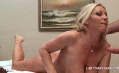 Big titted sex bomb gifting her hot masseur with a blowjob