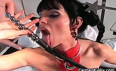 Hot sexy horny big boobed babe sucks