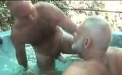 Mature Bears In The Hot Tub Outdoors