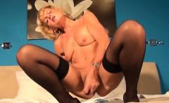 Blonde granny masturbates pussy and plays with smal dildo