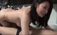 Busty hot Japanese MILF sucking large dick and fucking hard