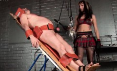 Dominatrix ties up sex slave and tortures dick