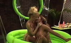 Lesbians Get Lubed Up In A Small Pool
