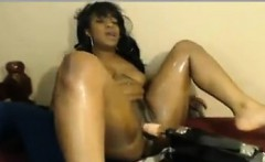 Horny Ebony Chick With A Machine