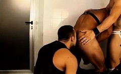 Muscled men get horny and play with piss and dicks