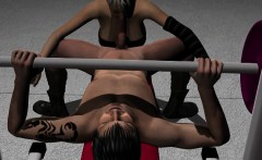 3D Babe Fucks a Stud as He Lifts Some Weights