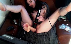 Sexy slim brunette takes her hairy beaver to pleasure on th