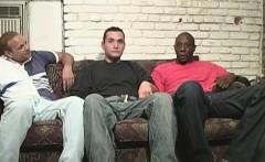 Black men sharing a funny white guy