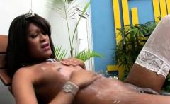 Ebony T-girl with sexy lips masturbates really big shecock