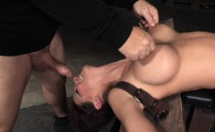 Busty squirter skank nailed by two maledoms