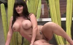 Big boob brunette teases