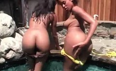 Lesbian stunners making out in a jacuzzi