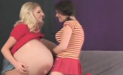 Frisky sweeties poke the biggest strapons and spray cum ever