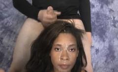 Black Ghetto Slut Gets Face Smashed By White Guys Dicks