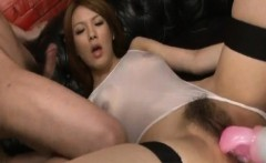 Rei gets cum on face after is aroused and fucked with