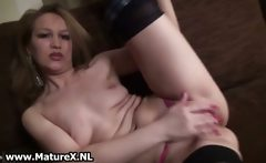 Horny housewife stripping and showing