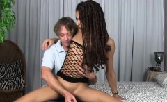 Ebony shemale buttfucked by male