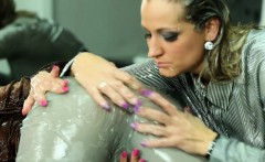European babe gets messy gel massage