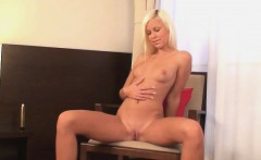 Sexy blonde spreads her legs for the toy