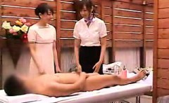 Lucky guy has two delightful Oriental masseuses pleasing hi