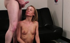 Wicked looker gets cumshot on her face gulping all the cream