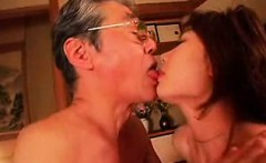 Enticing Asian babe has a kinky old man licking and fucking